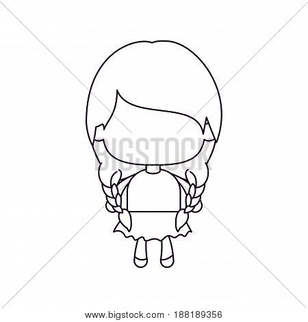 monochrome silhouette of faceless little girl with pigtails hair and braided vector illustration