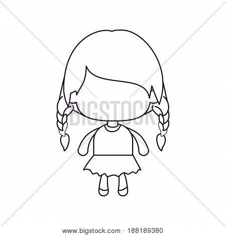 monochrome silhouette of faceless little girl with braided hair medium height vector illustration