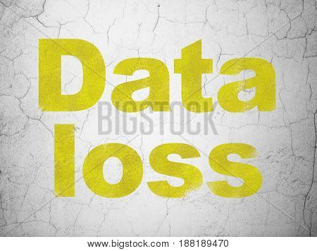 Data concept: Yellow Data Loss on textured concrete wall background