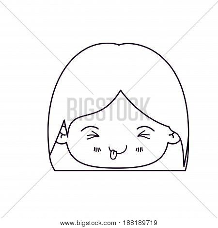monochrome silhouette of facial expression funny kawaii little girl with short hair vector illustration