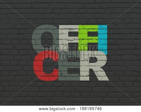 Law concept: Painted multicolor text Officer on Black Brick wall background