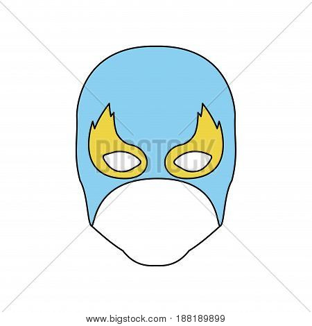 color silhouette with faceless man superhero and blue middle mask and shape of flame around the eyes vector illustration