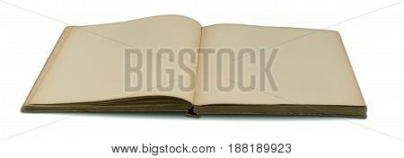old open book with blank pages on white background