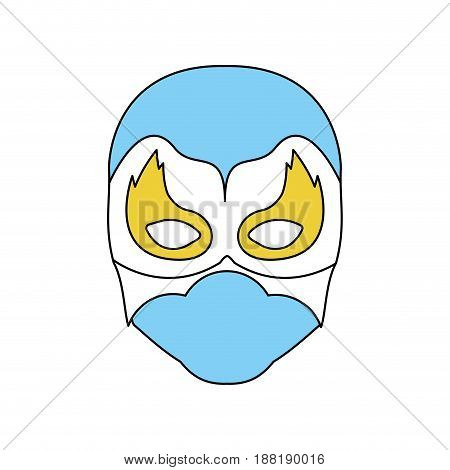 blue silhouette with face of man superhero masked vector illustration