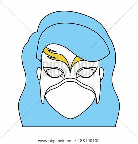 silhouette with face of woman superhero with blue long wavy hair and mask vector illustration