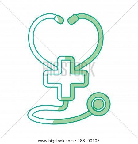 silhouette medical stethoscope to check cardiac heartbeat with cross symbol, vector illustration