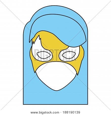 silhouette with face of girl superhero with blue hair straight and mask vector illustration