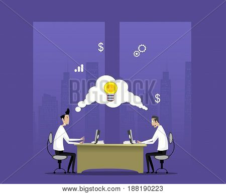 Two businessmen work in night office. Concept of creative process, start up, teamwork. Vector