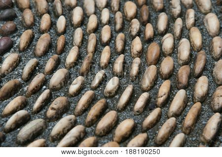 Pebbles stone pattern on the floor for foot massage.