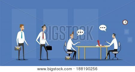 Job interview in office with candidates waiting for job interview. Vector flat illustration