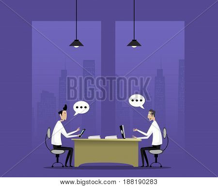 Two businessman discuss good deal sitting in night office. Teamwork concept illutration. Vector