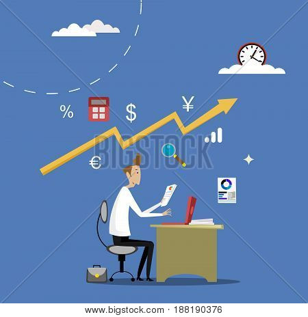 Business apps concept. Online banking, working with accounting programs, trading. Vector