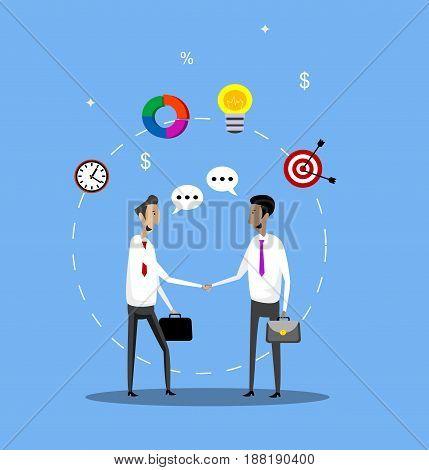 Two businessmen handshake. Partnership concept vector illustration.