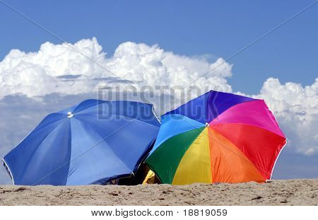 Umbrellas  on Caribbean beach