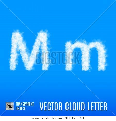 Clouds in Shape of the Letter M on Blue Background