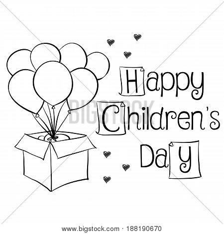 Children day with balloon children day background vector art