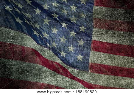 Closeup of grunge American flag. Vintage background