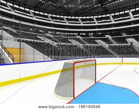 Beautiful Sports Arena For Ice Hockey With Black  Seats  Vip Boxes And Floodlights For Fifty Thousan