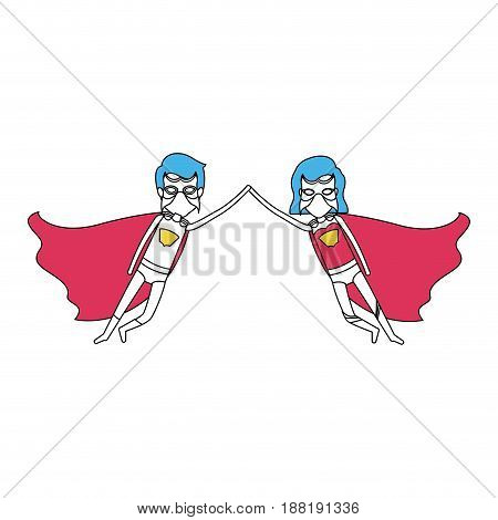 color silhouette with couple of superheroes flying united of the hands and her with short hair vector illustration
