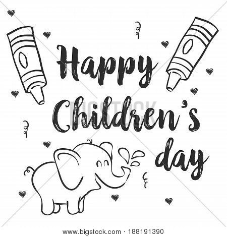 Hand draw children day with elephant vector illustration