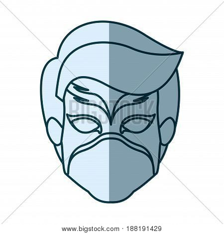blue silhouette with face of boy superhero with mask vector illustration