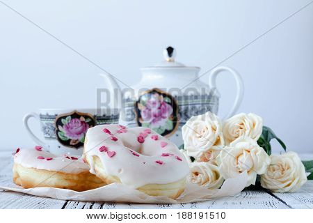 Lovers Breakfast For Valentines Day With Donut Tea And Red Roses