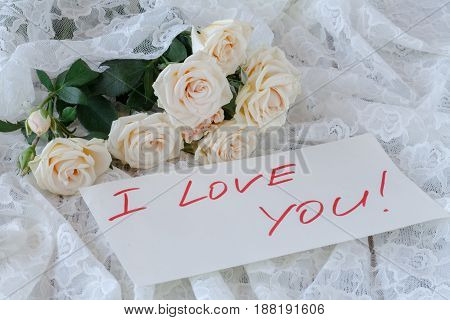 Bouquet Of Roses On Wooden Board, Valentines Day Background