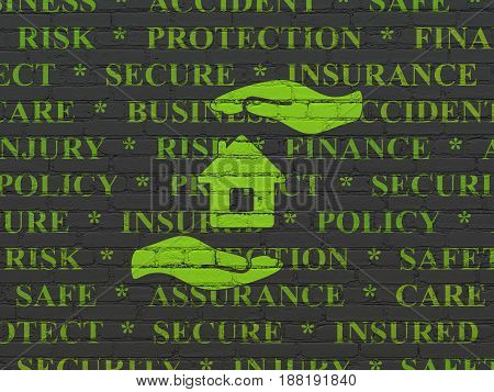 Insurance concept: Painted green House And Palm icon on Black Brick wall background with  Tag Cloud