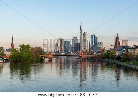 Frankfurt am Main. Image of Frankfurt am Main skyline at morning in Germany.