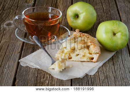Piece Of Apple Pie Charlotte, Green Juicy Apples And A Cup Of Tea