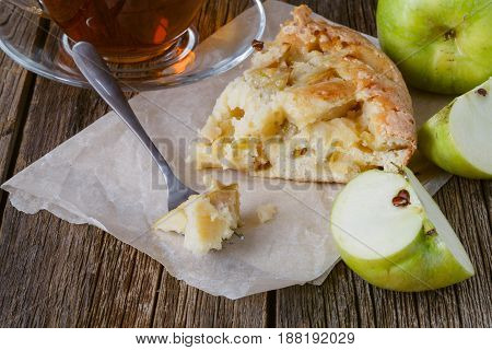 Closeup Board Cut Sweet Cake Cup Tea Piece Cake Background Wooden Table