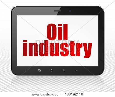 Industry concept: Tablet Pc Computer with red text Oil Industry on display, 3D rendering