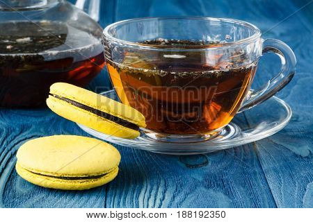 Cup Of Black Tea With Tasty Almond Cookies