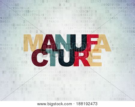 Industry concept: Painted multicolor text Manufacture on Digital Data Paper background