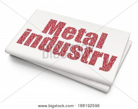 Manufacuring concept: Pixelated red text Metal Industry on Blank Newspaper background, 3D rendering