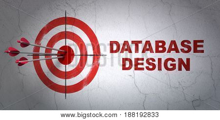 Success Database concept: arrows hitting the center of target, Red Database Design on wall background, 3D rendering