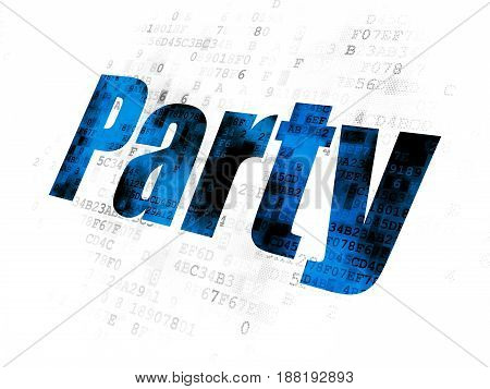 Holiday concept: Pixelated blue text Party on Digital background