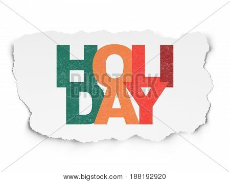Holiday concept: Painted multicolor text Holiday on Torn Paper background