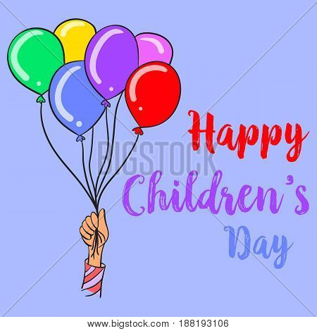 Colorful balloon style children day collection vector art