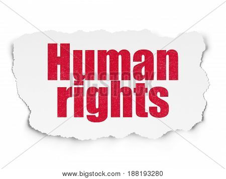 Political concept: Painted red text Human Rights on Torn Paper background with  Tag Cloud