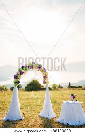 Wedding ceremony in the mountains in Montenegro