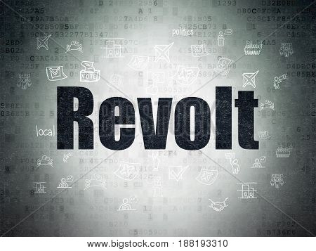 Political concept: Painted black text Revolt on Digital Data Paper background with  Hand Drawn Politics Icons