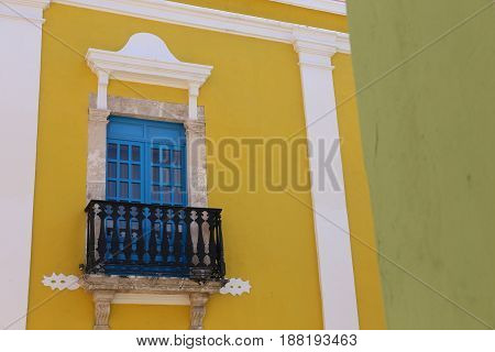 Campeche City in Mexico colonial architecture on the Yucatan Peninsula