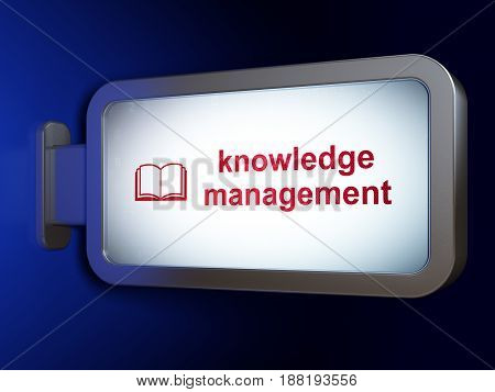 Education concept: Knowledge Management and Book on advertising billboard background, 3D rendering