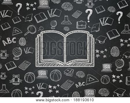Studying concept: Chalk White Book icon on School board background with  Hand Drawn Education Icons, School Board