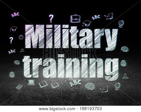 Learning concept: Glowing text Military Training,  Hand Drawn Education Icons in grunge dark room with Dirty Floor, black background