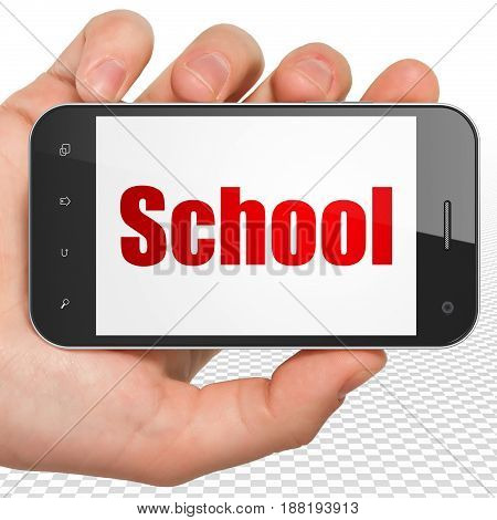 Learning concept: Hand Holding Smartphone with red text School on display, 3D rendering