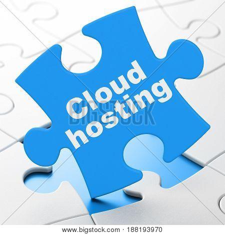 Cloud technology concept: Cloud Hosting on Blue puzzle pieces background, 3D rendering