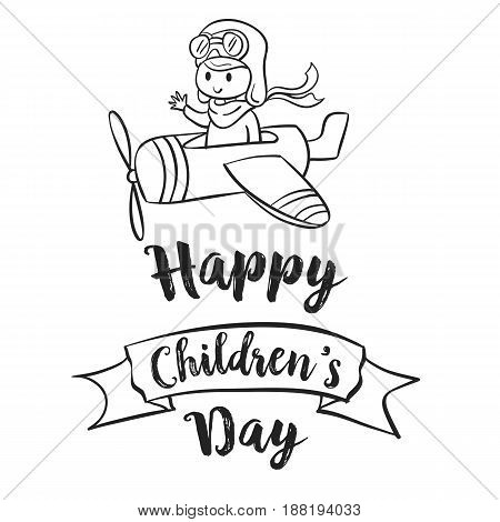 Children day hand draw celebration vector illustration