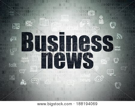 News concept: Painted black text Business News on Digital Data Paper background with  Hand Drawn News Icons